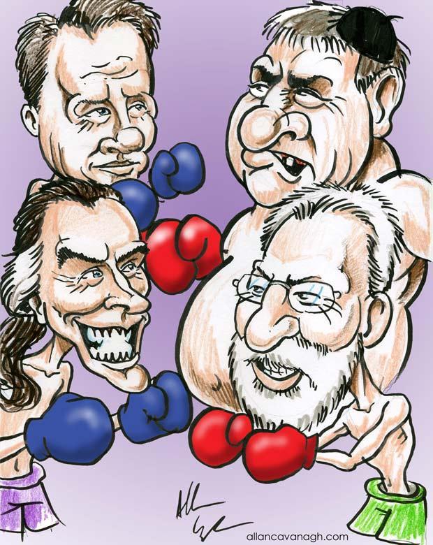 John Crumlish Paul Fahy Paraic Breathnach Ollie Jennings Cartoon
