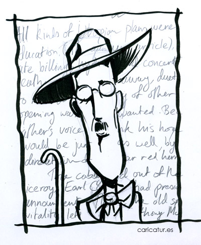Black and white Bloomsday James Joyce cartoon