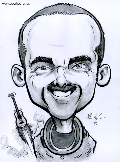 Caricature of Canadian astronaut Commander Chris Hadfield by Irish cartoonist Allan Cavanagh of Caricatures Ireland.