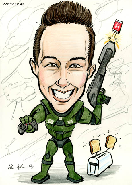 Caricature of a smiling boy dressed in Halo armour with Kit-Kats firing from his gun and a toaster popping from Allan Cavanagh of Caricatures Ireland.