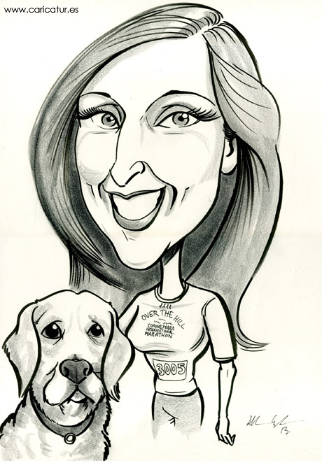 Caricature of TV3's Ireland AM presenter Sinead Desmond with her pet dog