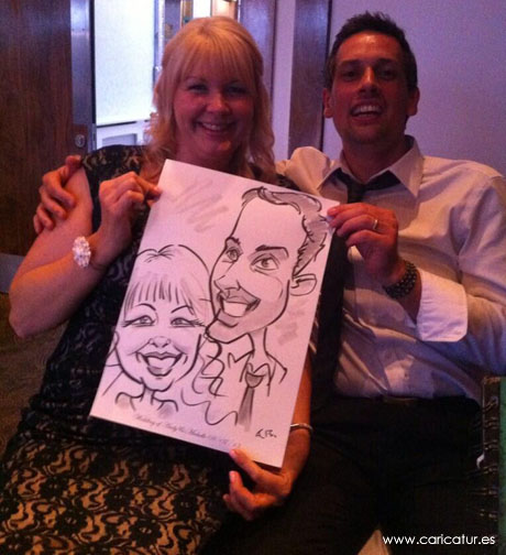 Laughing couple with caricature at a wedding in Wexford