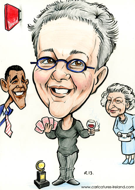 A caricature of Irish theatre director Garry Hynes with Barack Obama and the Queen, by Allan Cavanagh Irish cartoonist