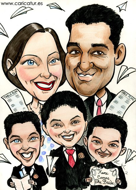 Caricature family portrait of parents and three sons by Allan Cavanagh Caricatures Ireland