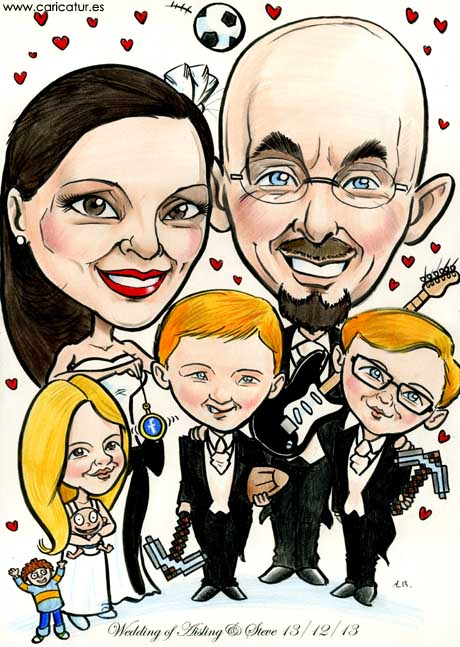 Cartoon portrait of a family by Allan Cavanagh, Caricatures Ireland