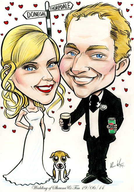 Irish bride with Australian groom, pint of Guiness, can of VB beer, caricature by artist Allan Cavanagh, Caricatures Ireland