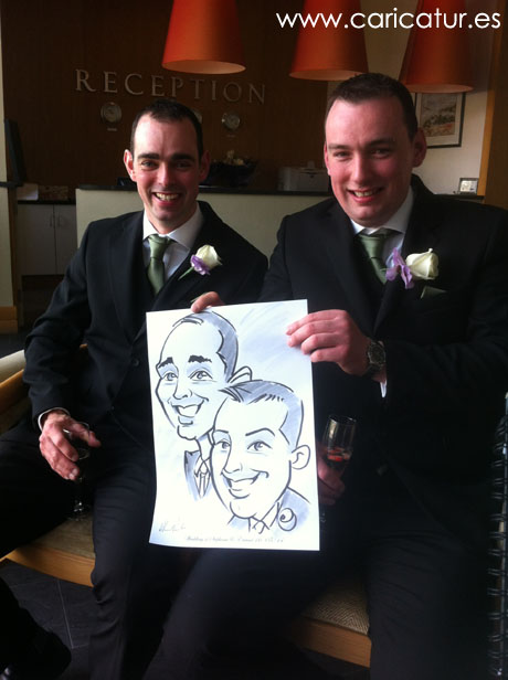 Couple of groomsmen with wedding caricature by Allan Cavanagh, www.caricatur.es