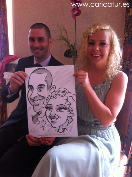 Caricature Artist Allan Cavanagh drawing wedding guests