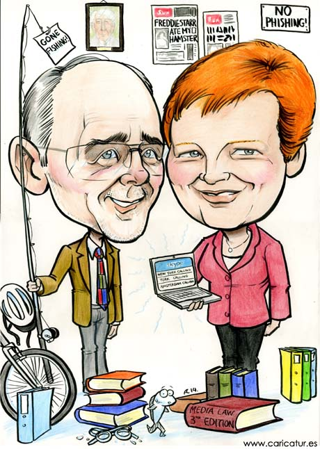 Caricature by Irish cartoon artist Allan Cavanagh for retirement present
