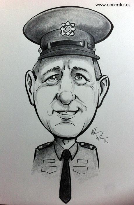 Caricature of a Guard by Allan Cavanagh Irish cartoonist