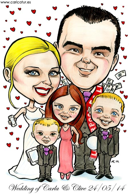 Caricature of a family for a wedding by Allan Cavanagh Caricatures Ireland