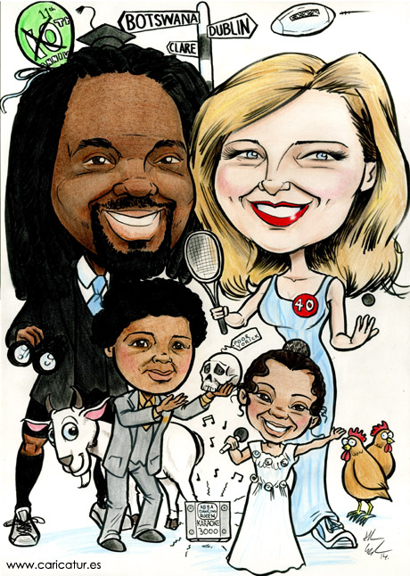 Caricature of a couple and their children on the occasion of their wedding anniversary by Irish Artist Allan Cavanagh