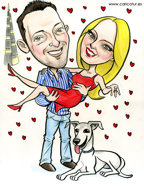 Caricature of engaged couple by Allan Cavanagh Caricatures Ireland