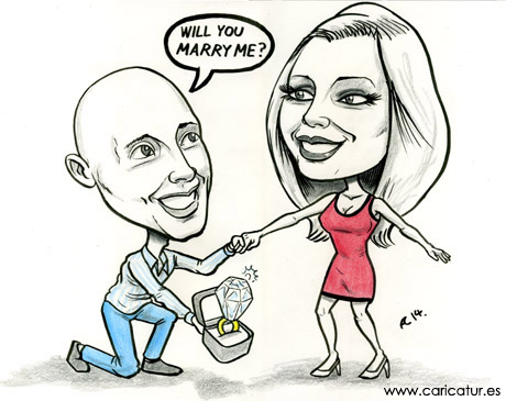 Caricature of couple with man on one knee proposing by Irish Caricatures Artist Allan Cavanagh