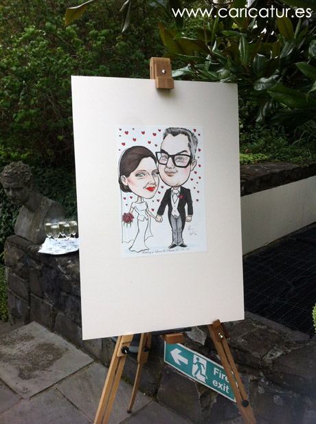wedding guestbook signing board by Allan Cavanagh Caricatures Ireland