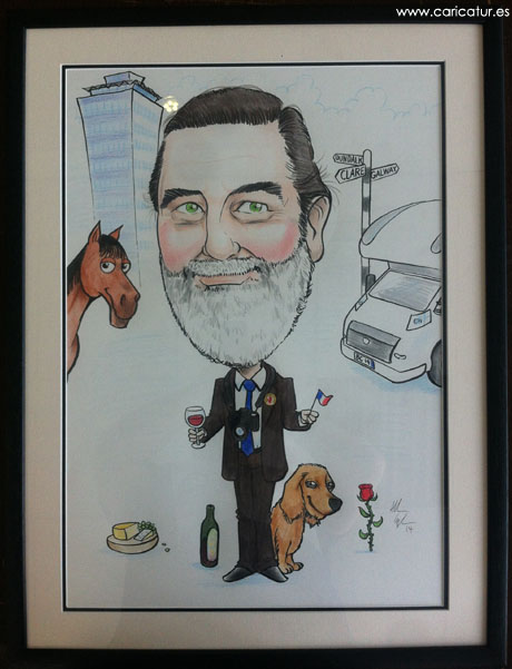 Retirement caricature by Allan Cavanagh