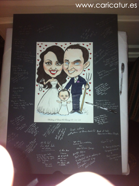 Wedding signing board guestbook blackboard theme by Allan Cavanagh Caricatures Ireland