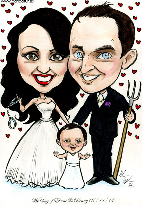 Caricature of couple getting married in Ireland by Allan Cavanagh