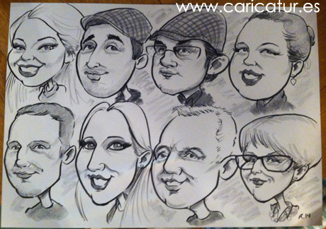 Caricature family portrait by Allan Cavanagh