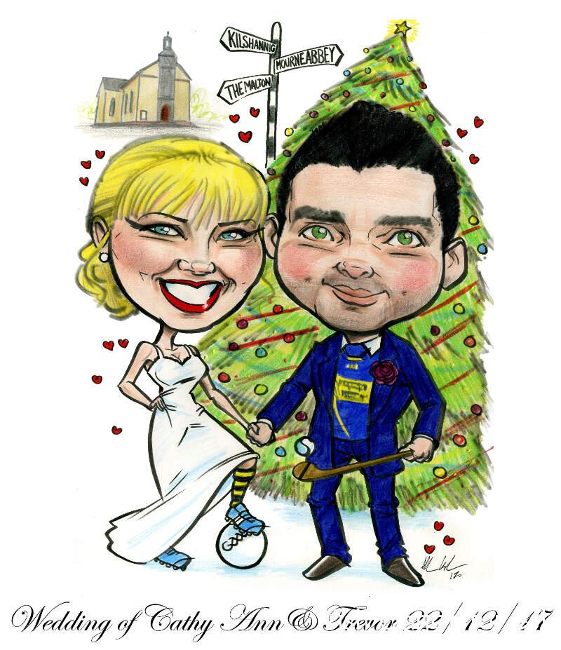 Christmas Themed Wedding Caricature by Allan Cavanagh