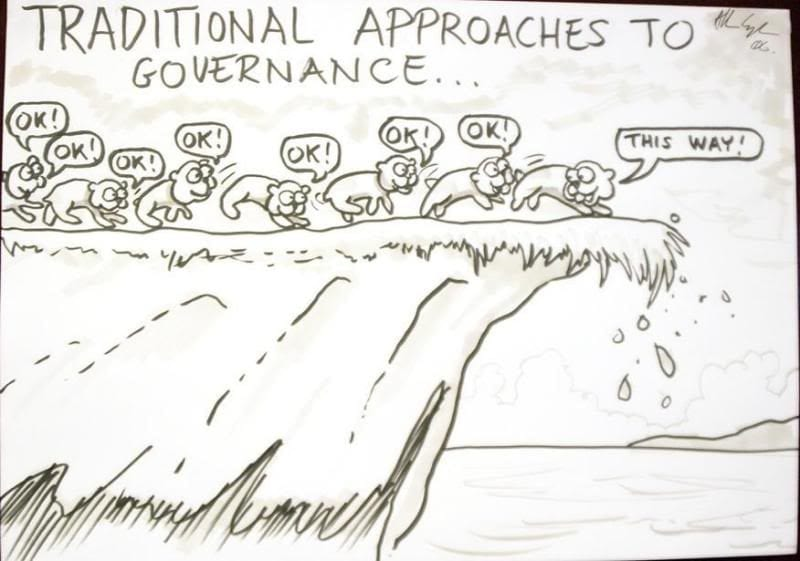 traditional governance lemmings cartoon