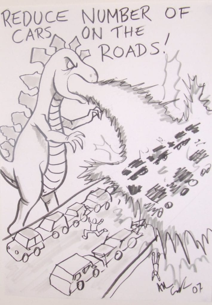 reduce cars cartoon Godzilla overpass incinerate