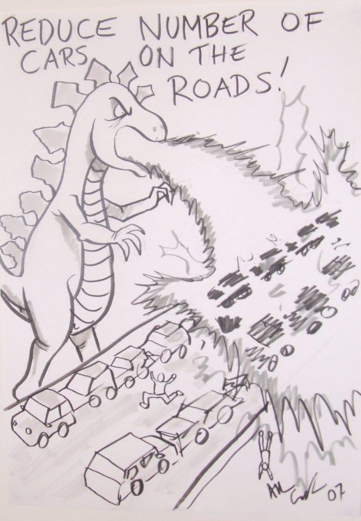 reduce cars cartoon Godzilla overpass incinerate