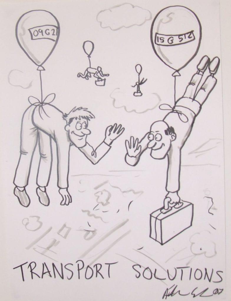 transport solution cartoon passengers tied to balloons