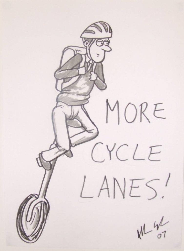 cycling cartoon boy in school uniform on unicycle