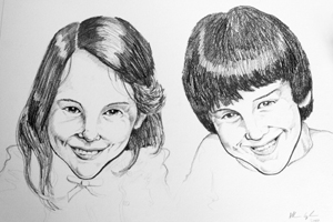Birthday pencil portrait drawing twins by Allan Cavanagh