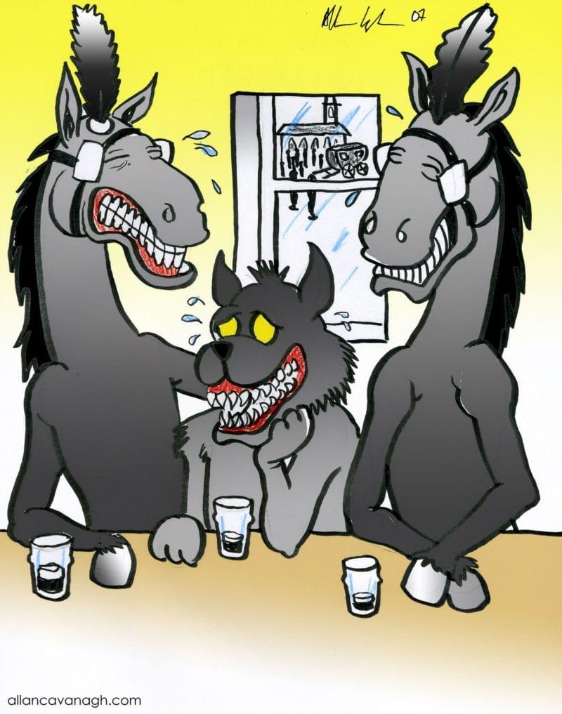 Traditional Irish Wake Cartoon 2 black horses drinking with black dog