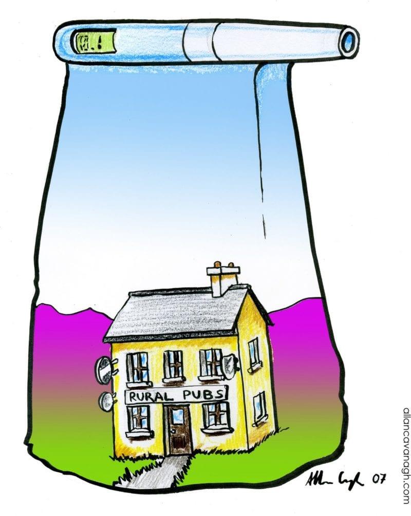 Rural Irish pub inside breathalyser cartoon