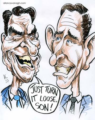 Ronald Reagan Prince Charles Caricature Cartoon