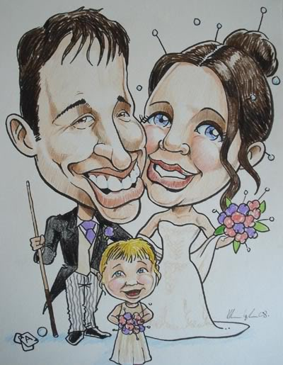 Wedding caricature signing board