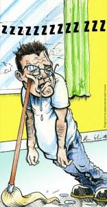 Sleep Cartoon- Free to use Cartoon of Tired Man Sleeping Standing Up.
