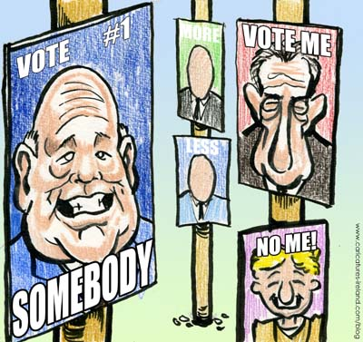 Election poster cartoon