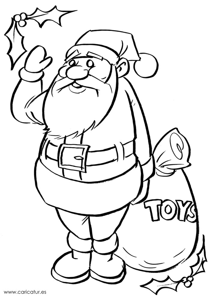 Merry Christmas! Here's a printable black & white Santa ...