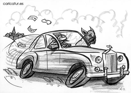 Cartoon thief in speeding car with dog