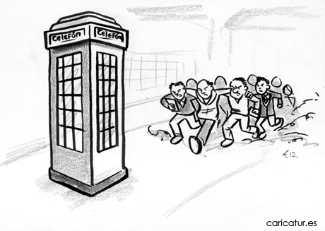Old style Irish vintage phone box with rugby reporter scrum cartoon