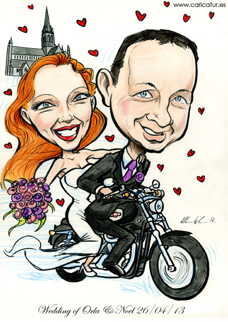 Wedding caricature of Bride and Groom on a Harley Davidson motorbike with St. Marys Catherdral Killarney in background