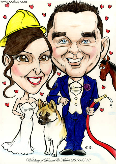 Caricature of a bride and groom with firehose and firefighter helmet, horse and American Akita dog from Allan Cavanagh, Caricatures Ireland