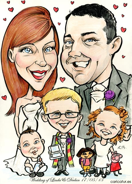 Caricature of a family of 2 adults and 3 children in wedding attire with Dora the Explorer & Peppa Pig toys for a wedding signing board by Irish artist Allan Cavanagh