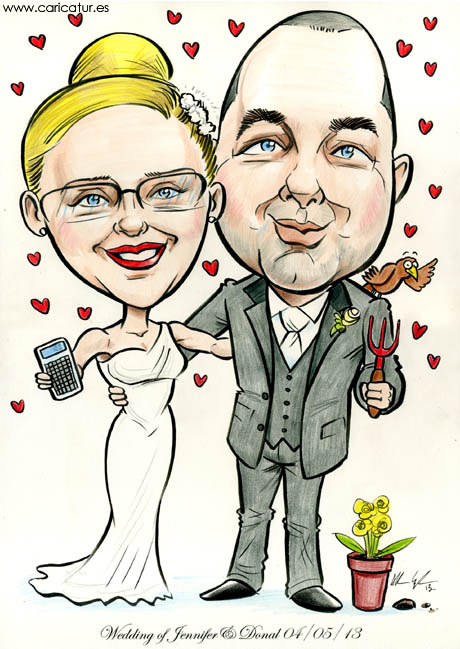 Bride and groom caricature, accountant, gardening