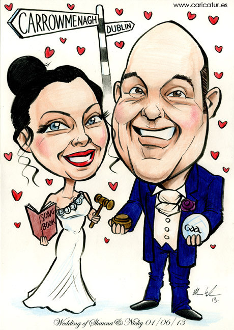 Caricature of newly-married couple with signpost, GAA football, songbook and auctioneers gavel