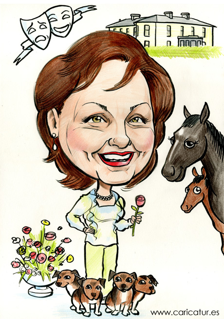 Caricature birthday present of a woman with horses and Jack Russells