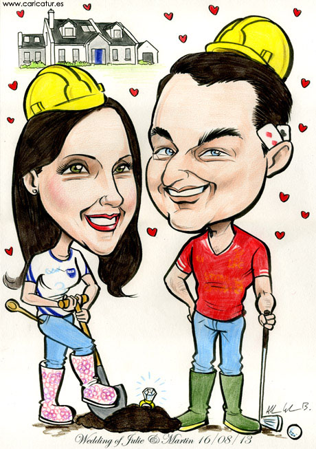 Caricature of a couple getting engaged as bride to be finds engagement ring in the ground while digging by Allan Cavanagh Caricatures Ireland