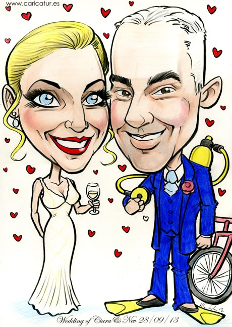 Caricature of a wedded couple!