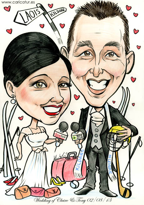 Wedding caricature guestbook with radio, GAA and skiing theme!