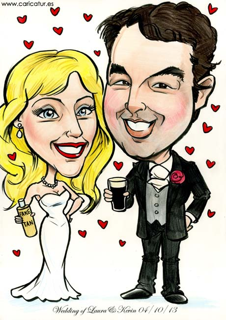 Caricature of barman and beautician getting married for a wedding present