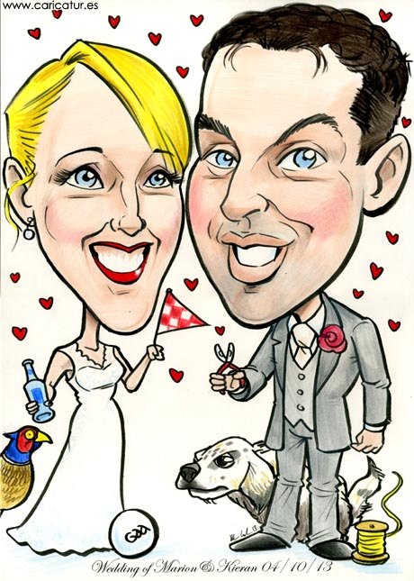 Caricature of bride and groom by Allan Cavanagh Caricatures Ireland with gundog and pheasant!